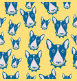 happy dog bull terrier black and white vector image
