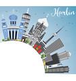 harbin skyline with gray buildings blue sky vector image