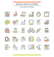 healthy lifestyle icons set vector image