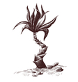 Palm sketch wood engraving vector image