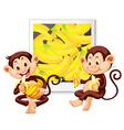 Two monkeys eating bananas vector image vector image