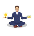 businessman found his balance with idea and money vector image