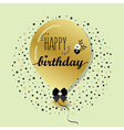 Golden flying helium Happy Birthday balloon card vector image