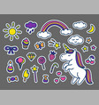 set of stickers in cartoon doodle vector image