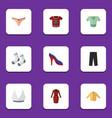 flat garment set of brasserie foot textile t vector image