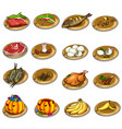 set of delicious food and leftovers vector image