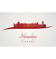 Hamilton skyline in red vector image vector image