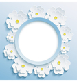 Round blue frame with 3d sakura vector image vector image