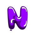 cartoon letter n in shape of purple air balloon vector image