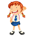 a girl going to school vector image