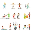 People In Fitness Center Exercising Under COntrol vector image
