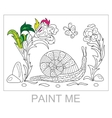 Zentangle stylized cartoon snail crawling among vector image