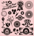 Set of flower symbols icons and signs vector image vector image