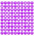 100 patisserie icons set purple vector image