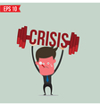 Business man lifting barbell for crisis concept - vector image