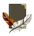 Brown and white feathers on a book vector image