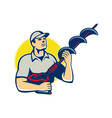 Builder Worker With Hole Driller Auger vector image