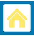 Home flat yellow and white colors rounded button vector image