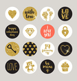 Valentines holiday set glitter gold design vector image vector image