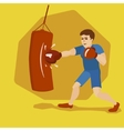 Boxer training with punching bag cartoon vector image