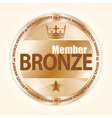 Bronze member badge with royal crown and one star vector image