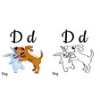 Dog alphabet letter d coloring page vector image