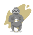 happy cute sloth with the cup of tea or coffee vector image