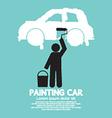 Man Painting Car On Wall Symbol vector image