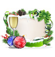 paper scroll with glass of champagne and vector image