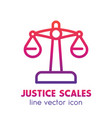 scales icon in linear style over white vector image