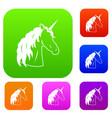 unicorn set collection vector image