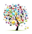Web buttons glossy on tree for your design vector image