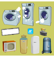 cartoon household items different washing machine vector image