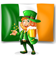 Irish man drinking beer vector image vector image
