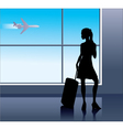 young woman in the airport vector image
