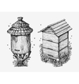Wooden hives Hand drawn sketch beekeeping honey vector image