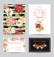 autumn vintage hortensia flowers card for wedding vector image