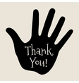 Card with hand icon and retro Thank You text vector image