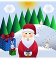 christmas santa claus and hares vector image