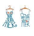 Woman dressshirt in words love SummerTypography vector image