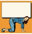 Woman on all fours holding a poster vector image