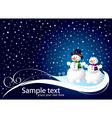 Christmas card with smowman vector image
