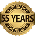 55 years experience golden label with ribbons vector image vector image