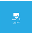 Social network background with computer media icon vector image