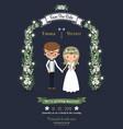Rustic romantic cartoon couple wedding card vector image