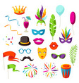 carnival party set of celebration icons objects vector image