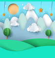 cartoon paper landscape mountain cloud star vector image