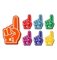 Colorful foam fingers set vector image