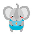 cute elephant in blue clothes cartoon kawaii vector image
