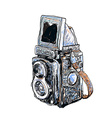 Old twin lens reflex- vector image
